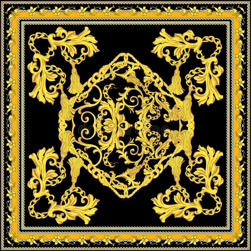 Barrocco con progettazione della sciarpa dell'oro royalty illustrazione gratis