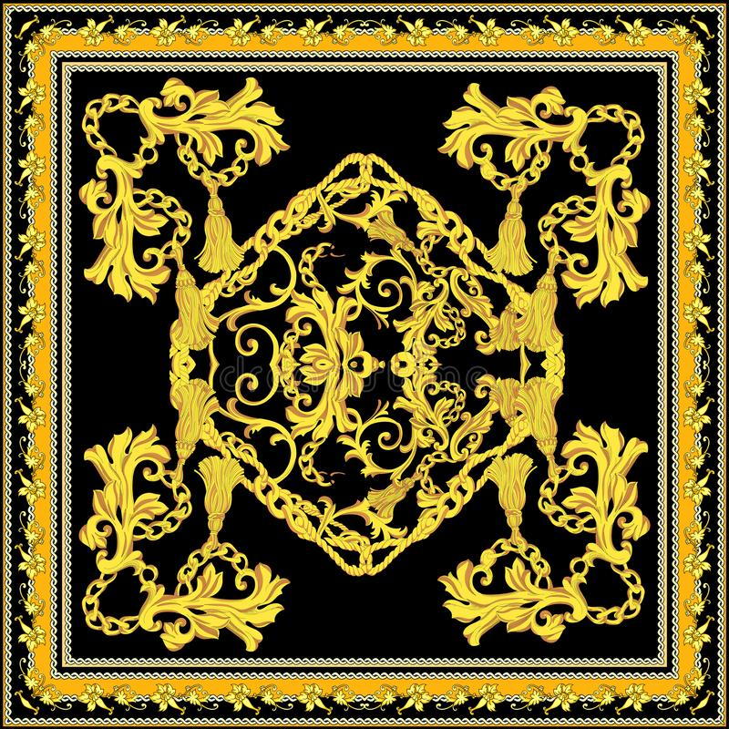 Barroco com projeto do lenço do ouro ilustração royalty free
