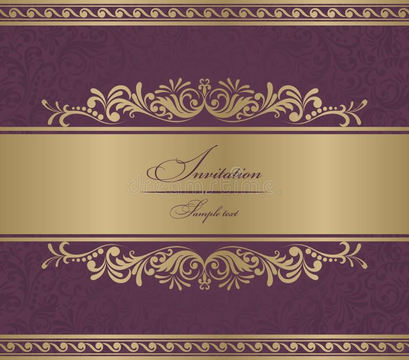 Barroco de Borgoña de la tarjeta de la invitación stock de ilustración