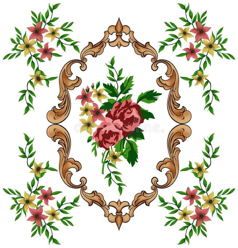 Barroco de oro y flores foto de archivo libre de regalías