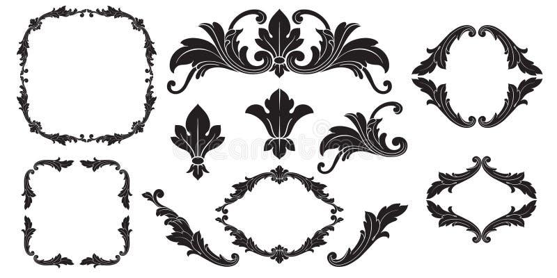 Barroco del vector de los elementos del vintage para el diseño stock de ilustración