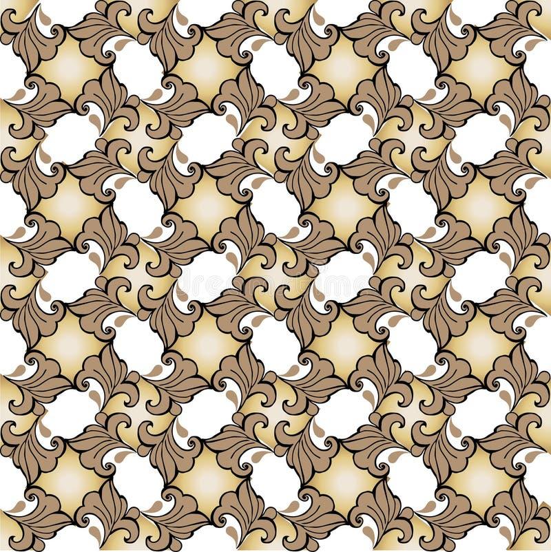 Barroco inconsútil del ornamento floral Ornamento del oro Contexto decorativo del ornamento para la tela, materia textil, papel d ilustración del vector