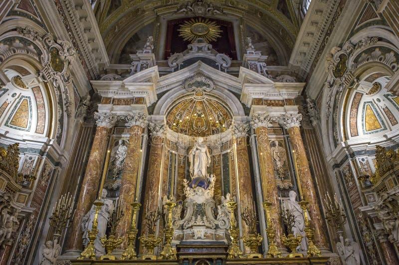 Barrocokerk van Gesu Nuovo, Napels, Italië stock afbeeldingen