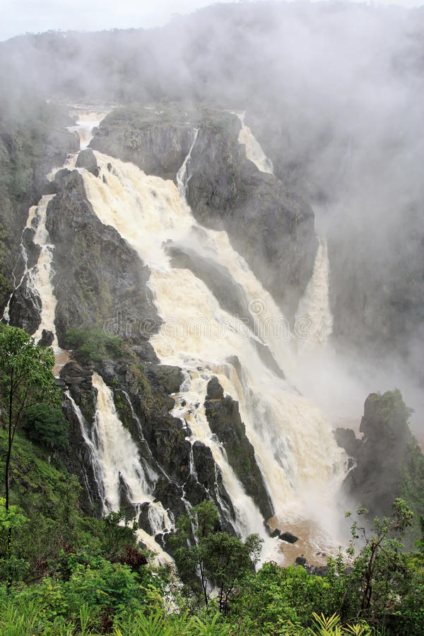 Barron Falls f. Barron Falls is a tiered cascade waterfall on the Barron River near Cairns Queensland Australia royalty free stock photography