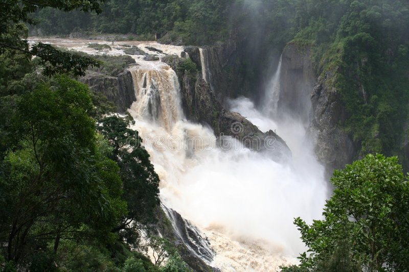 Barron falls in flood. Picture of the Barron Falls in flood stock image