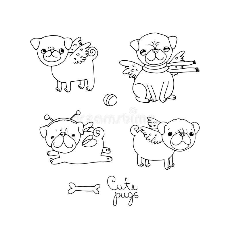 Barros amasados lindos Perros stock de ilustración