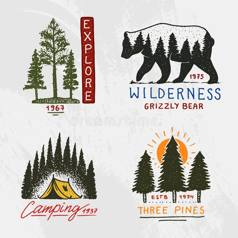 Barrskog, berg och trälogo campa och lös natur landskap med sörjer träd och kullar Emblem eller vektor illustrationer