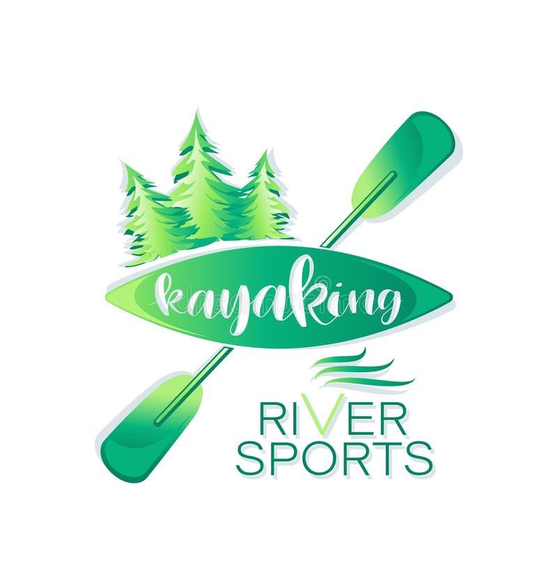 Barrskog som Kayaking Flodsport bokst?ver royaltyfri illustrationer