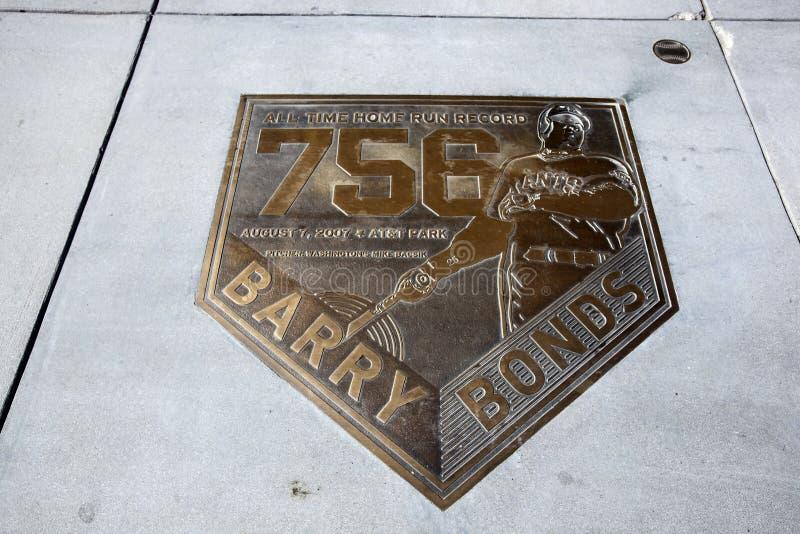 Barry Bonds bazy domowej plakieta zdjęcie stock