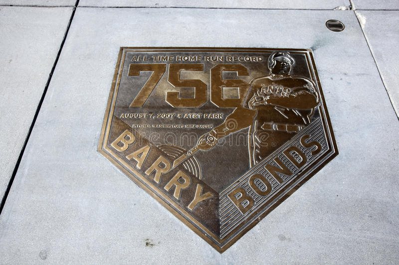Barry Bonds-Home-Run-Plakette stockfoto