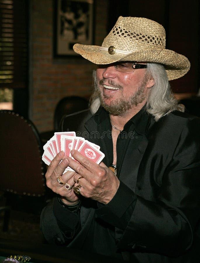 Barry Gibb Kicks Off Poker Tournament imagen de archivo libre de regalías