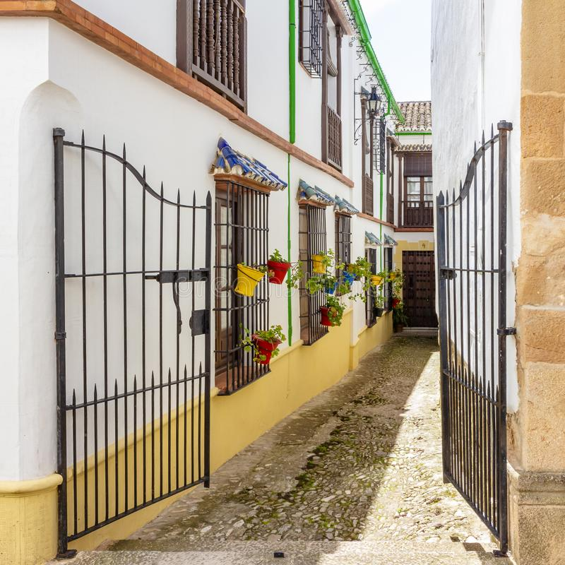 Bars in alleys of Ronda stock photography