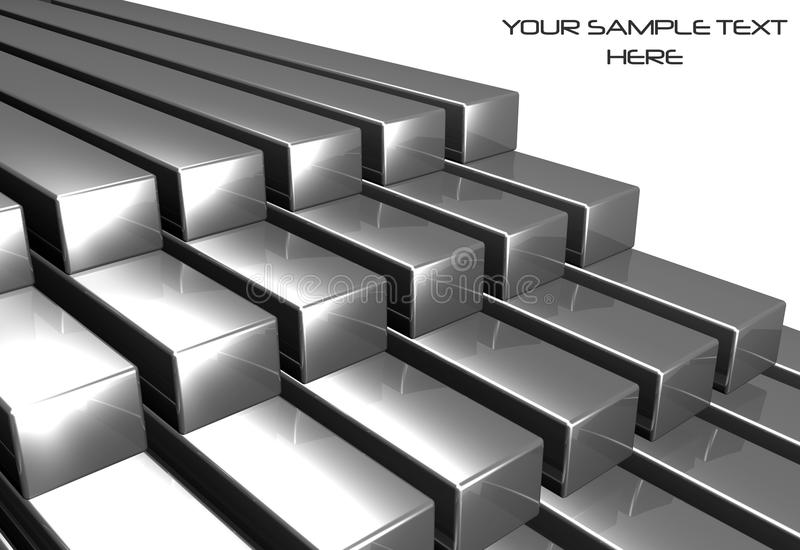 bars brillants en métal 3d illustration stock