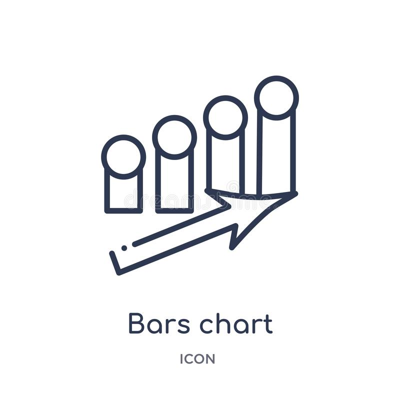 Bars chart interface ascending icon from user interface outline collection. Thin line bars chart interface ascending icon isolated. On white background royalty free illustration