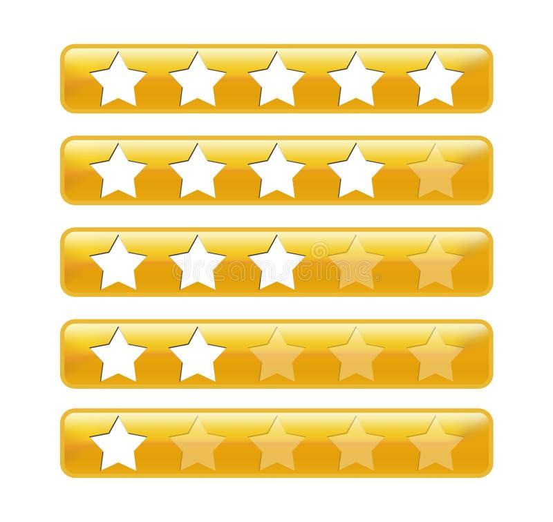 Bars d'or de notation avec des étoiles illustration de vecteur