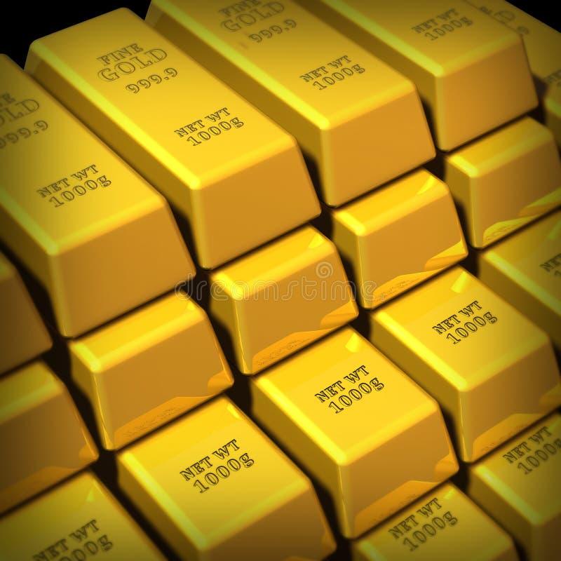 Bars d'or empilés dans un groupe illustration libre de droits