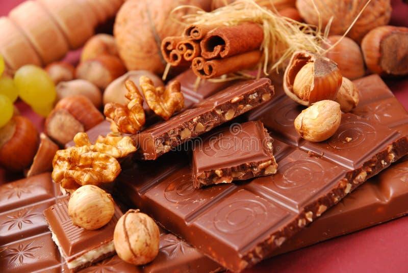 Bars de chocolat avec des noix et des raisins secs image stock