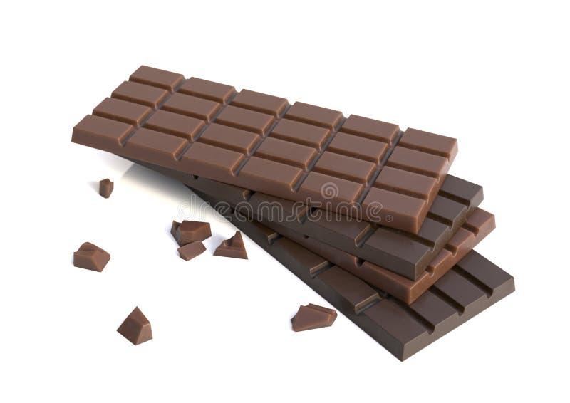 Bars de chocolat d'isolement photos libres de droits