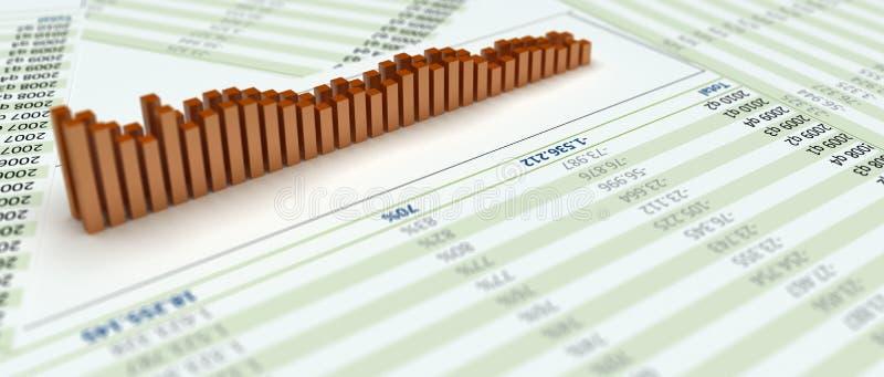 bars du diagramme 3d sur le papier avec des numéros illustration de vecteur