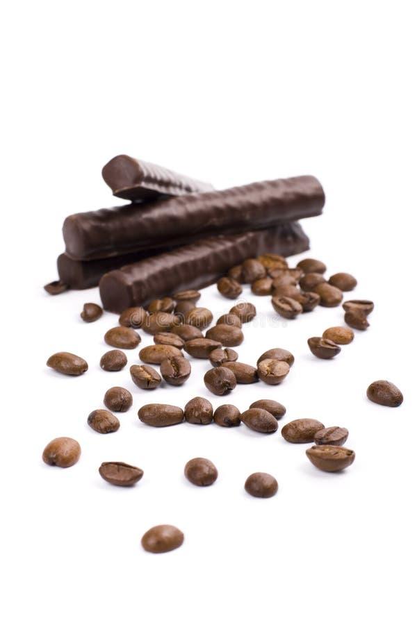 Bars et café de chocolat photos stock