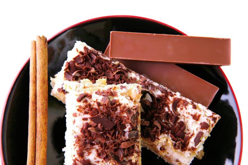 Bars et gâteau de chocolat photos libres de droits