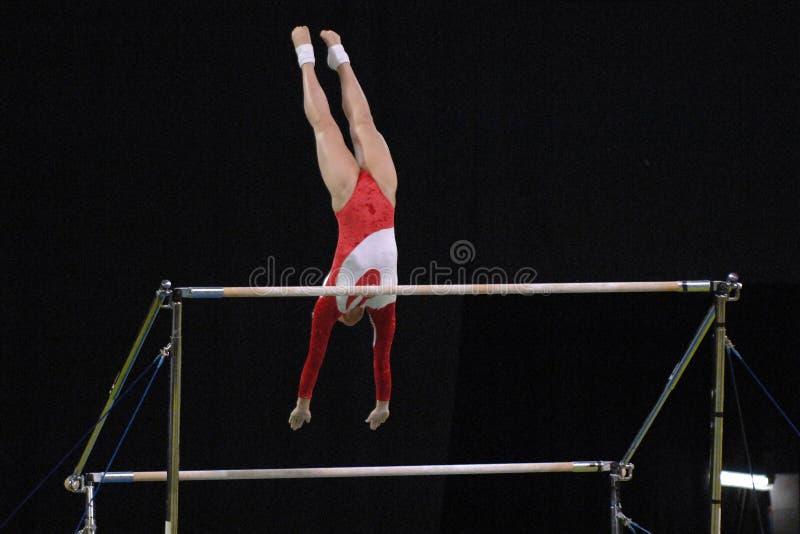 Bars inégaux 01 de gymnaste images stock