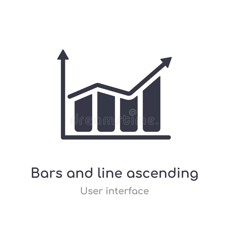 bars and line ascending of data analytics outline icon. isolated line vector illustration from user interface collection. editable vector illustration