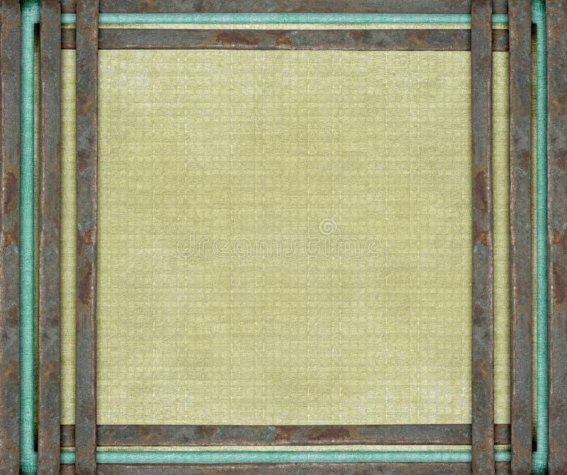 Bars rouillés en métal et toile âgée bleue illustration libre de droits