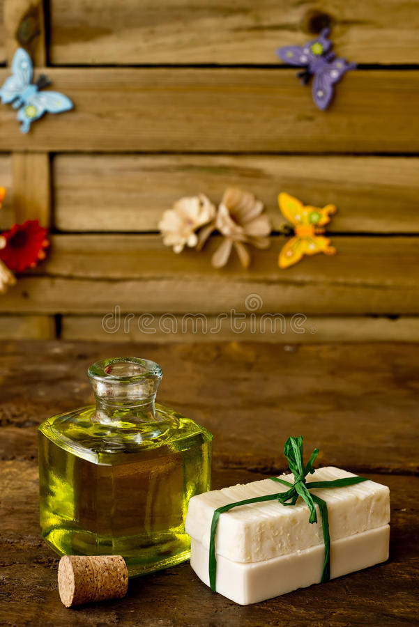 Bars of soap olive oil handmade royalty free stock photo