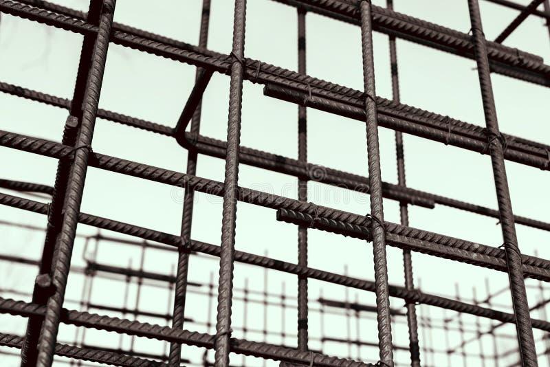 Bars van de metaal de roestige versterking Versterkend staalbars voor de bouw van anker stock foto