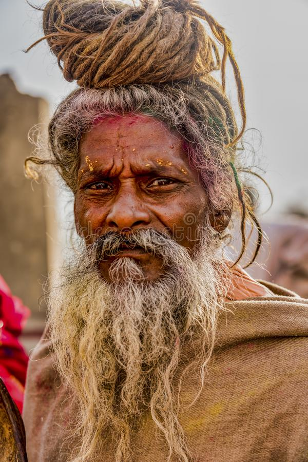 Free Barsana, India - February 23, 2018 - Old Man With Grey Beard And Top-knot In Holi Festival Royalty Free Stock Images - 155404029