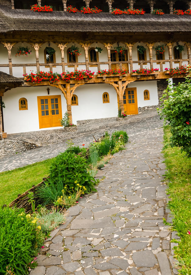 Barsana monastery complex in Maramures stock photos