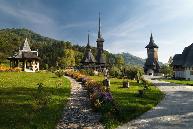 Barsana Monastery Romania stock photos