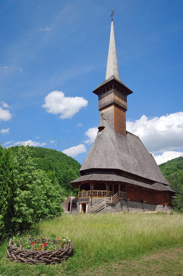 Orthodox wooden church. Barsana Monastery Complex, landmark attraction in Maramures, Romania. UNESCO World Heritage. Orthodox wooden church from Barsana stock images