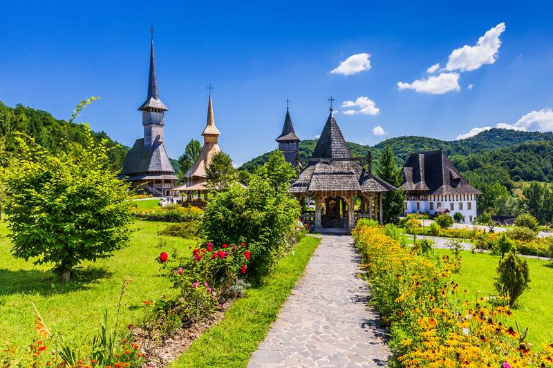 Barsana, Romania. Wooden churches at Barsana Monastery. Maramures region royalty free stock photo