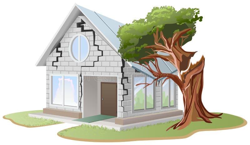 Barst in bakstenen muur van huis De boom viel op huis De boom brak huis vector illustratie