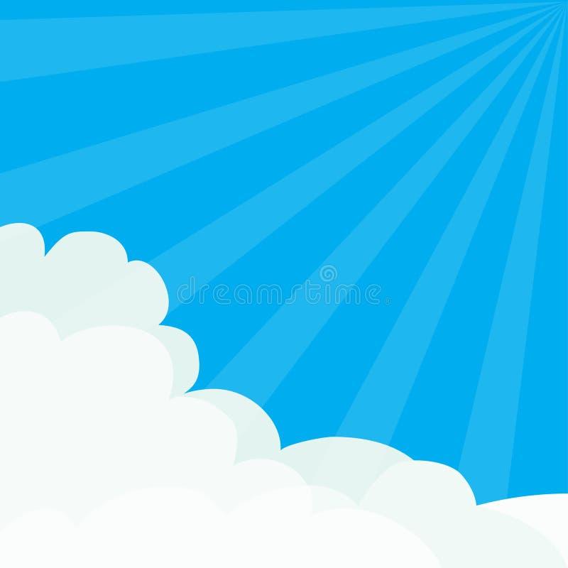 Barsten de zon lichte stralen Blauwe hemel Zonneschijn Pluizige Wolk in het malplaatje van het hoekenkader Cloudshape Bewolkt Wee vector illustratie