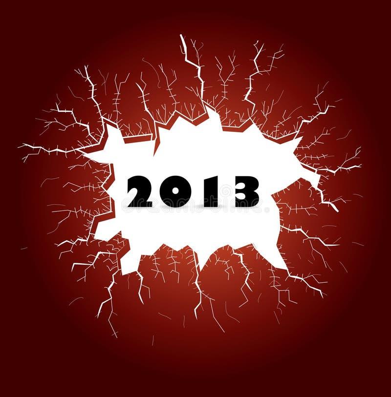 Barsten met jaar 2013 stock illustratie