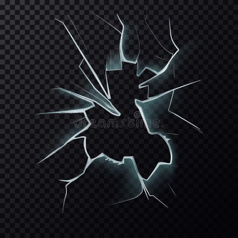 Barsten op gebroken venster met barsten stock illustratie