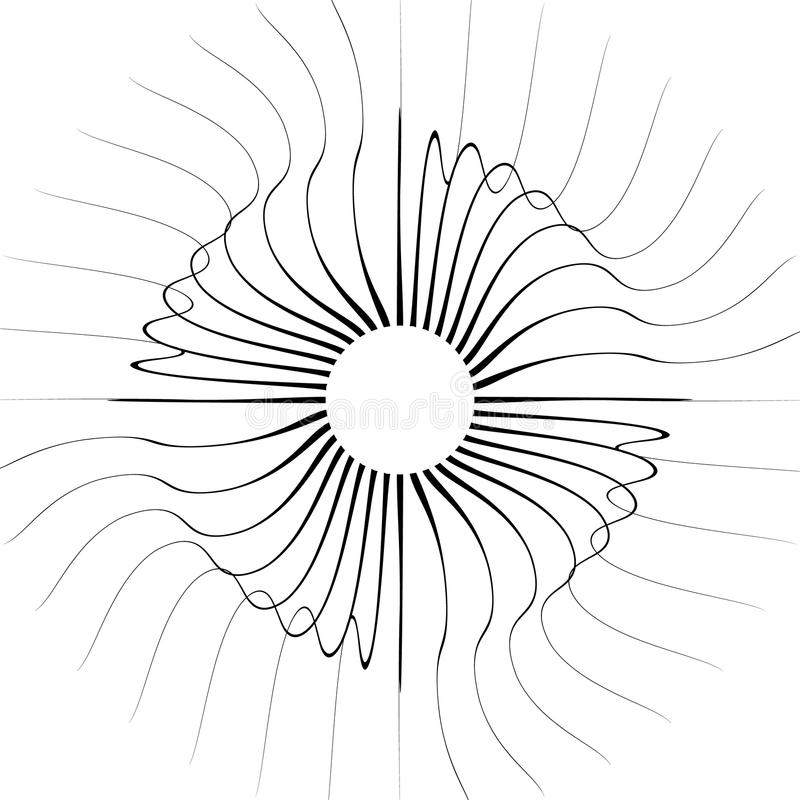 Barstende radiale lijnen Vervormde stralen, stralen abstracte illustrati vector illustratie