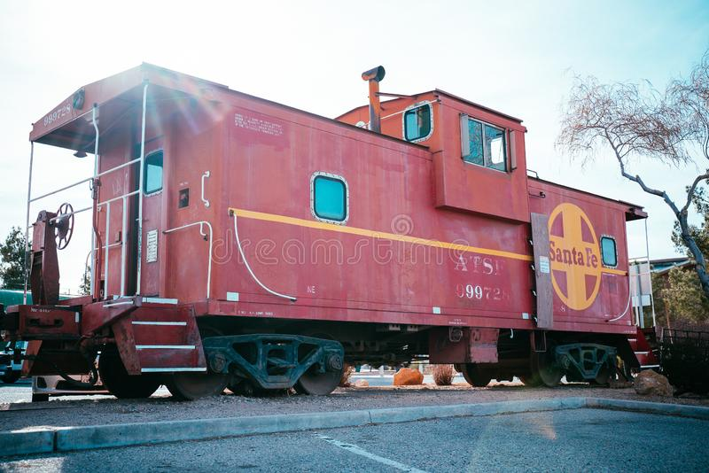 Barstow, California, USA - Santa Fe red Train at Western America Railroad Museum near Harvey House Railroad Depotis dedicated to. History of railroading in stock photography