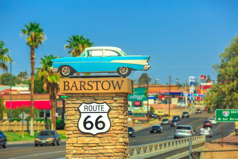Barstow Route 66 entrance. Barstow, California, United States - August 15, 2018: Barstow Sign on Route 66 on entrance of the city`s Main Street. Barstow is an stock photography