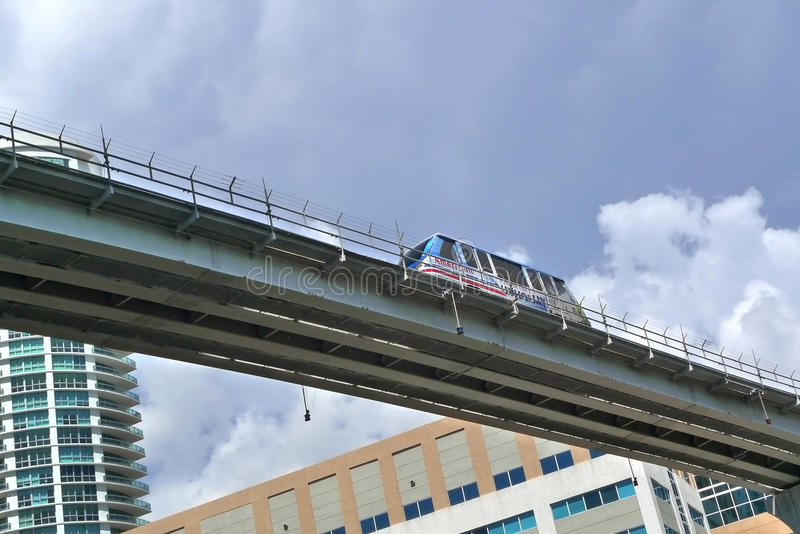 Bart. Monorail at downtown miami stock images