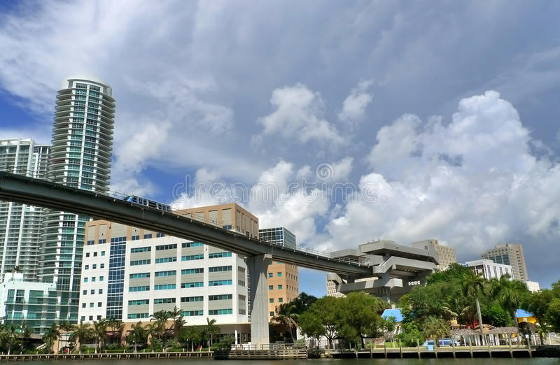 Bart. Monorail at downtown miami royalty free stock photography