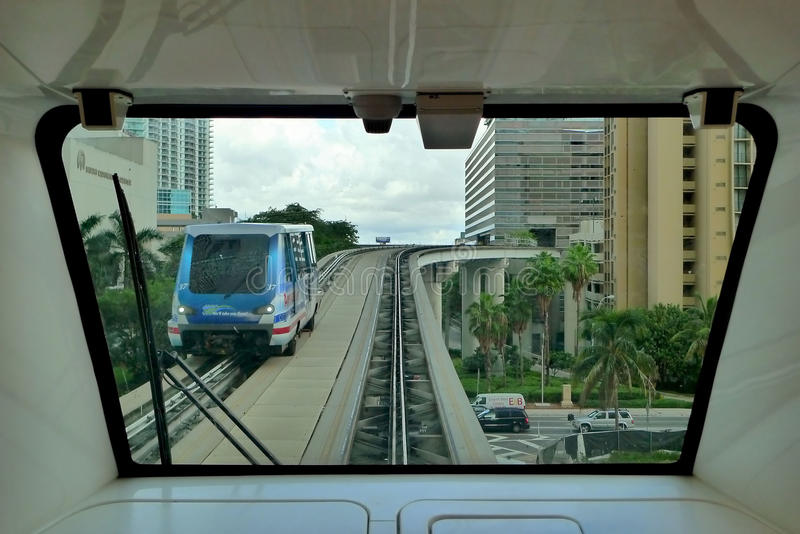 Bart. Monorail at downtown miami stock image