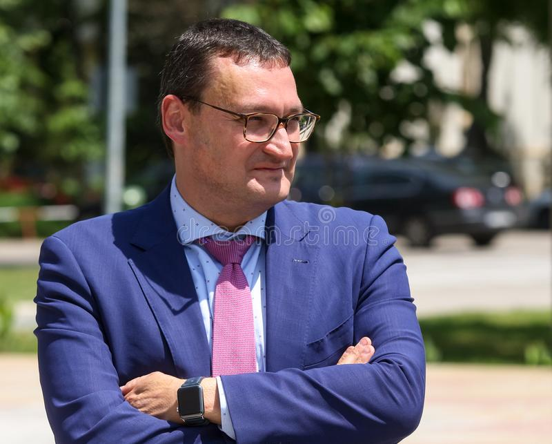 Bart Biebuyck, Executive Director FCH-JU. Bucharest, Romania - June 12, 2019: Bart Biebuyck, Executive Director FCH-JU, participates in the presentation of fuel royalty free stock photo