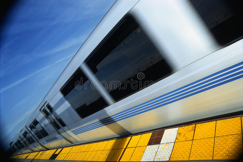 Bart Metro Rail. This is the Bart Metro Rail. It is the Bay area rapid transit system. It is a form of transportation. The train is shown at an angle with the stock photo