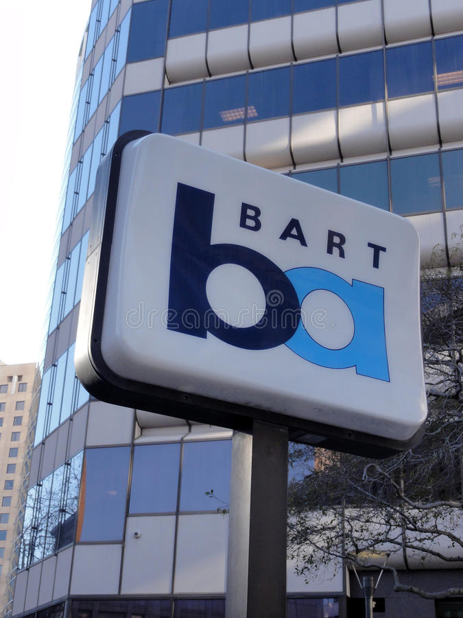 BART sign marks station in Oakland, California. OAKLAND, CA - FEB 22 : BART sign marks station in Oakland, California on February 22, 2011. BART Provides royalty free stock images