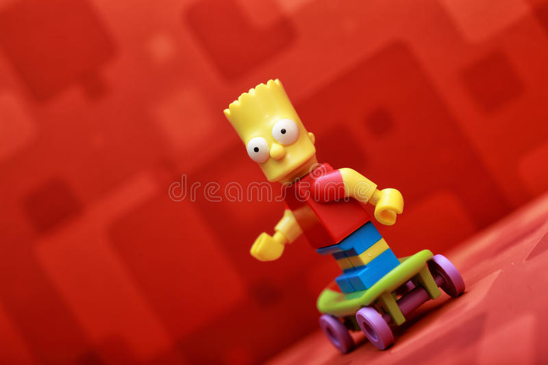 Bart Simpson. Lego Mini Figure stock images