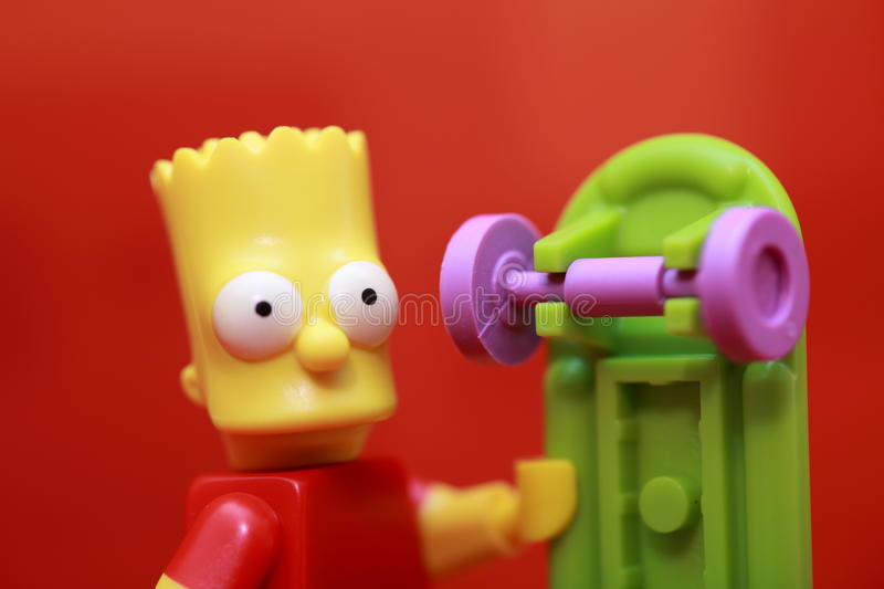 Bart Simpson. Lego Mini Figure stock photos